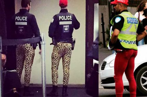 Montreal police camo pants protest